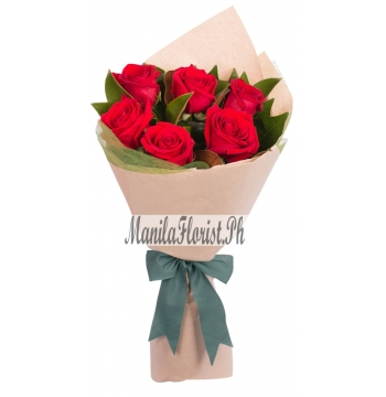 online 6 red roses bouquet manila