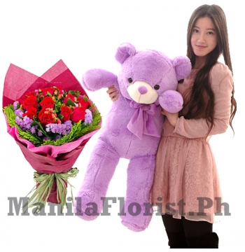 red rose bouquet with giant teddy bear