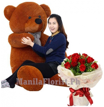 rose bouquet with bear