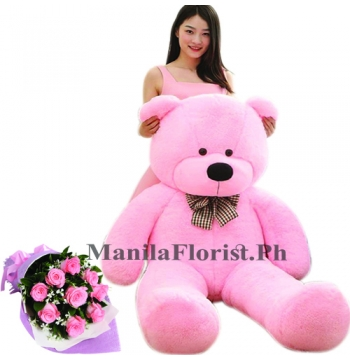 pink rose with giant bear