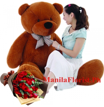 5 feet giant teddy bear and red rose bouquet