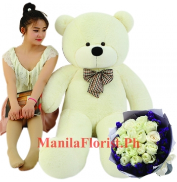 white rose bouquet with 4 feet giant teddy
