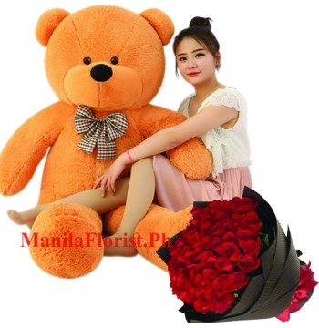 24 red rose bouquet with giant bear