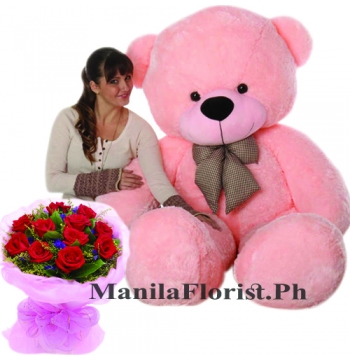 12 Red Roses Bouquet with 5 feet Bear Big Send to Manila Philippines