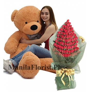 giant bear with rose bouquet