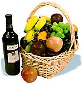 Christmas Fruits Wine Basket Send to Manila