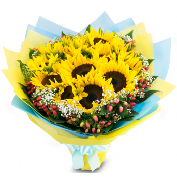 one dozen sunflower in a bouquet to manila
