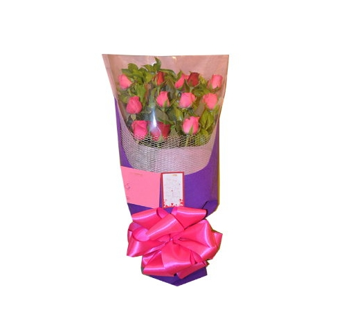 12 Red and Pink Roses Bouquet