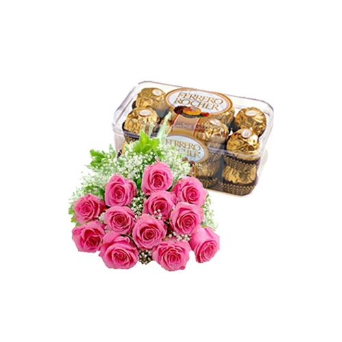 12 Pink Roses with Ferrero Rocher Chocolate