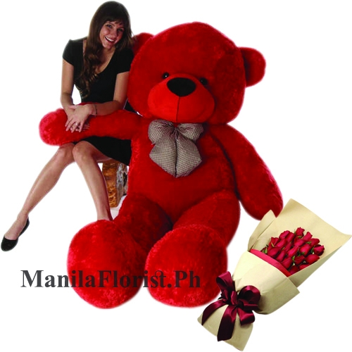 12 red rose with 5 feet giant teddy bear
