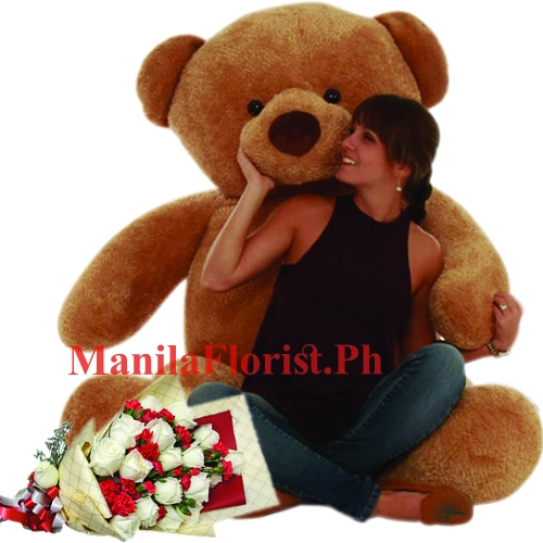 white rose bouquet with giant bear