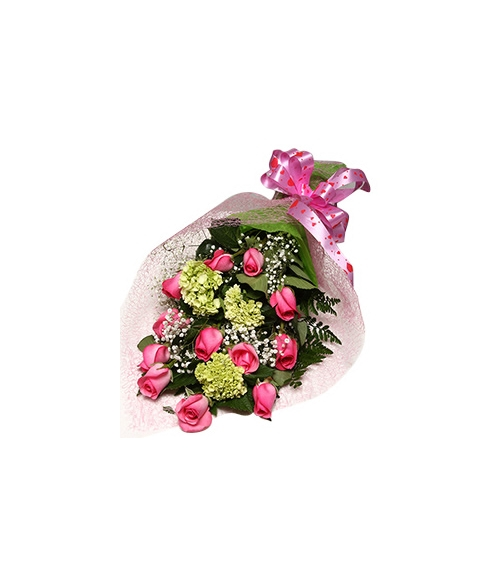 12 Pink Roses with Seasonal Flower Bouquet