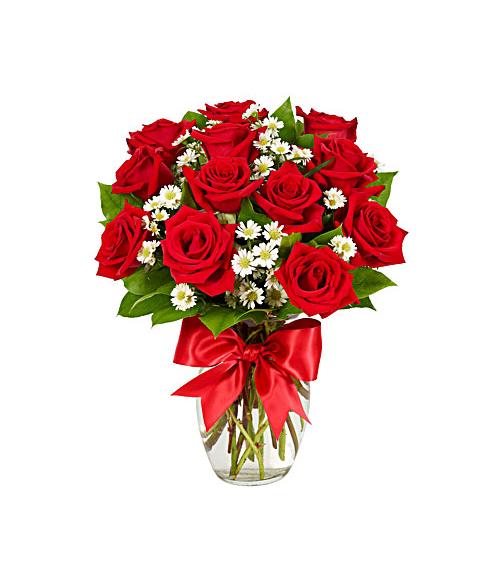 12 Luxury Red Roses Vase Send to Manila Philippines
