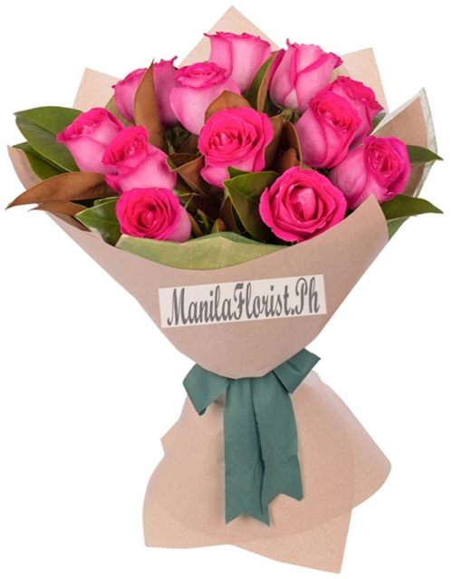 12 pink roses bouquet manila