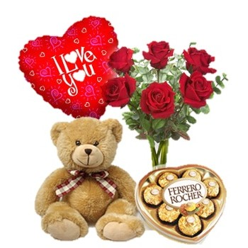 6 Red Roses Vase Brown Bear Ferrero Rocher Chocolate Box With I Love