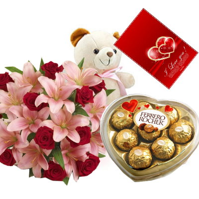 12 Red Roses And Lily White Bear With Ferrero Rocher Chocolate Box