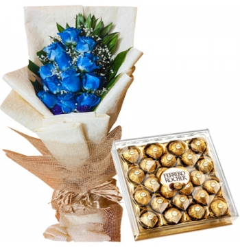 12 Blue Roses with Ferrero Chocolate