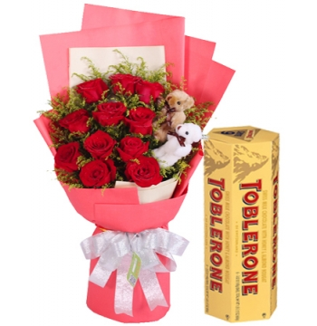buy 12 red roses with toblerone 6 bar manila