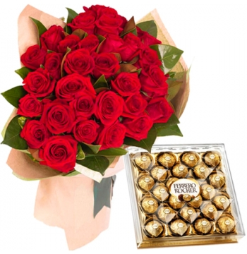36 Red Roses with Ferrero Rocher Chocolates