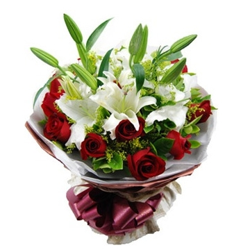 12 Red Roses with 2 White Perfume lilies Send to Manila Philippines