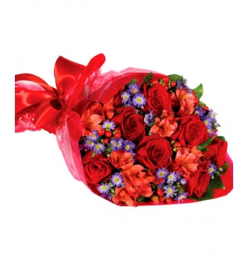 Red Roses,Red Alstroemeria and Red Hypericum Bouquet Send to Manila Philippines