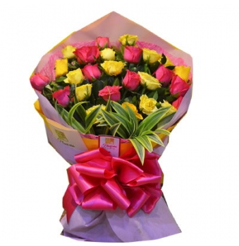 24 Yellow & Red Roses Bouquet
