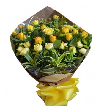 24 Yellow and Orange Roses Bouquet