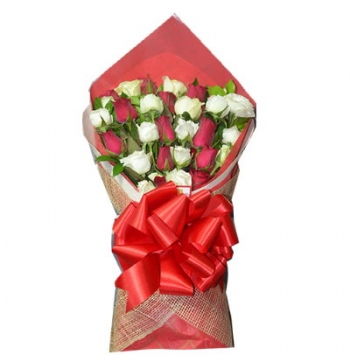 24 White & Red Roses Bouquet