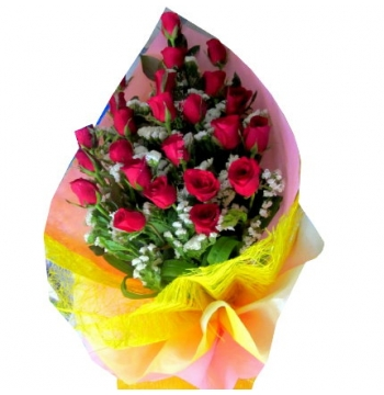 24 Red Roses Bouquet with Seasonal Flower