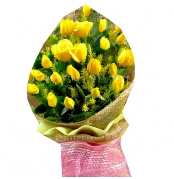 24 Yellow Roses Bouquet with Greenery