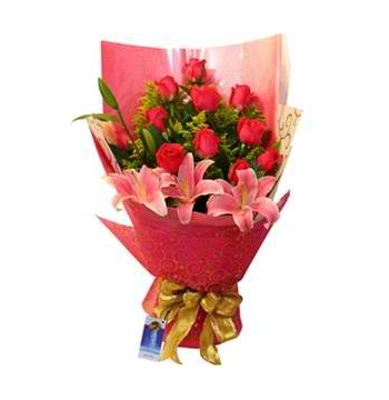 12 Red Roses with 3 Lily Bouquet