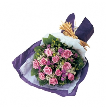 12 Pink Roses with Greenery Bouquet