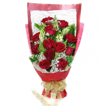 12 Red Roses with Seasonal Flower Bouquet