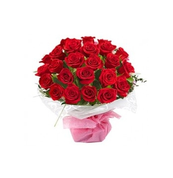 24 Red Roses in White Bouquet