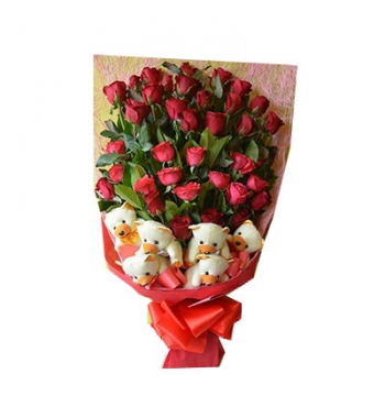24 Red Roses Bouquet with 6 Bear