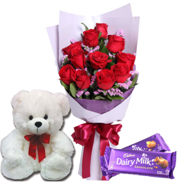 12 Red Roses Bouquet,White Bear with Cadbury Chocolate