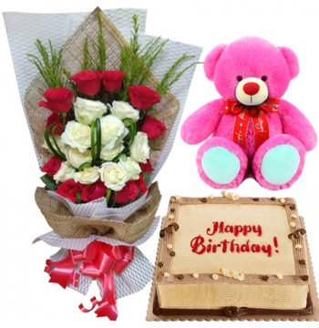 buy red white roses with bear in manila