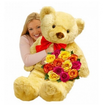 Big 3.5 Feet Bear with 12 Mixed Roses Bouquet Send to Manila Philippines