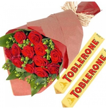 12 Red Roses with Toblerone Chocolate