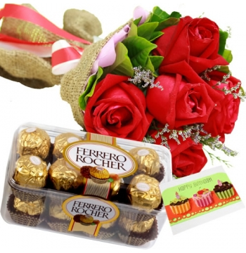 6 Red Roses with Ferrero Rocher Chocolate Box