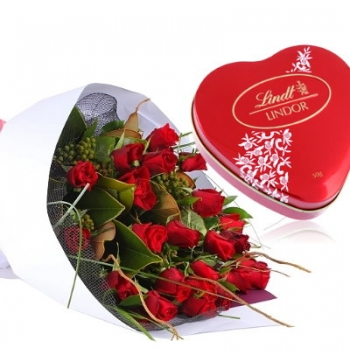 24 Red Roses with Lindt Chocolate