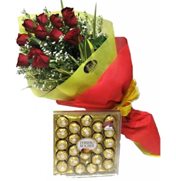 12 Red Roses with Ferrero Rocher Chocolate Box