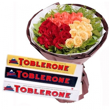 36 Mixed Roses with Toblerone Chocolate