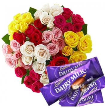24 Mixed Roses with Cadbury Chocolate