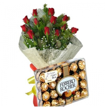 12 Red Roses Bouquet with Ferrero Chocolate Box