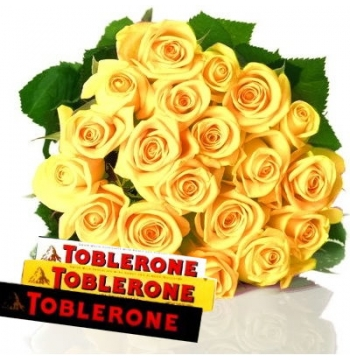 24 Yellow Roses Bouquet with Toblerone Chocolate