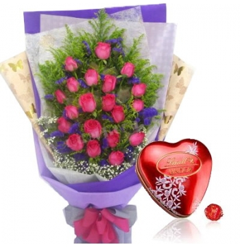 12 Pink Roses with Lindt Chocolate Send to Manila Philippines