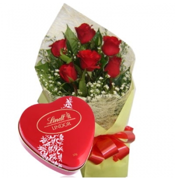 6 Red Roses with Lindt Chocolate