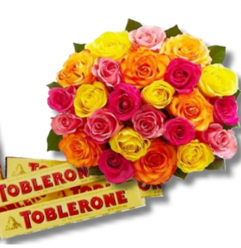 24 Mixed Roses Bouquet with Toblerone Chocolate