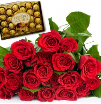 12 Red Roses Bouquet with Ferrero Rocher Chocolate